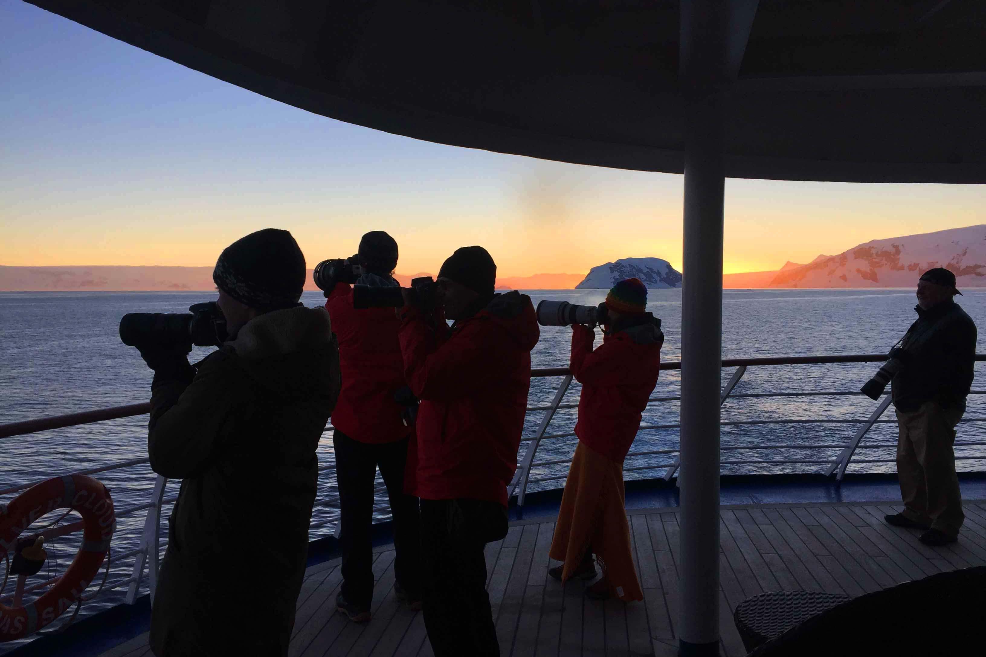 Capturing the sunset during an Antarctica cruise.