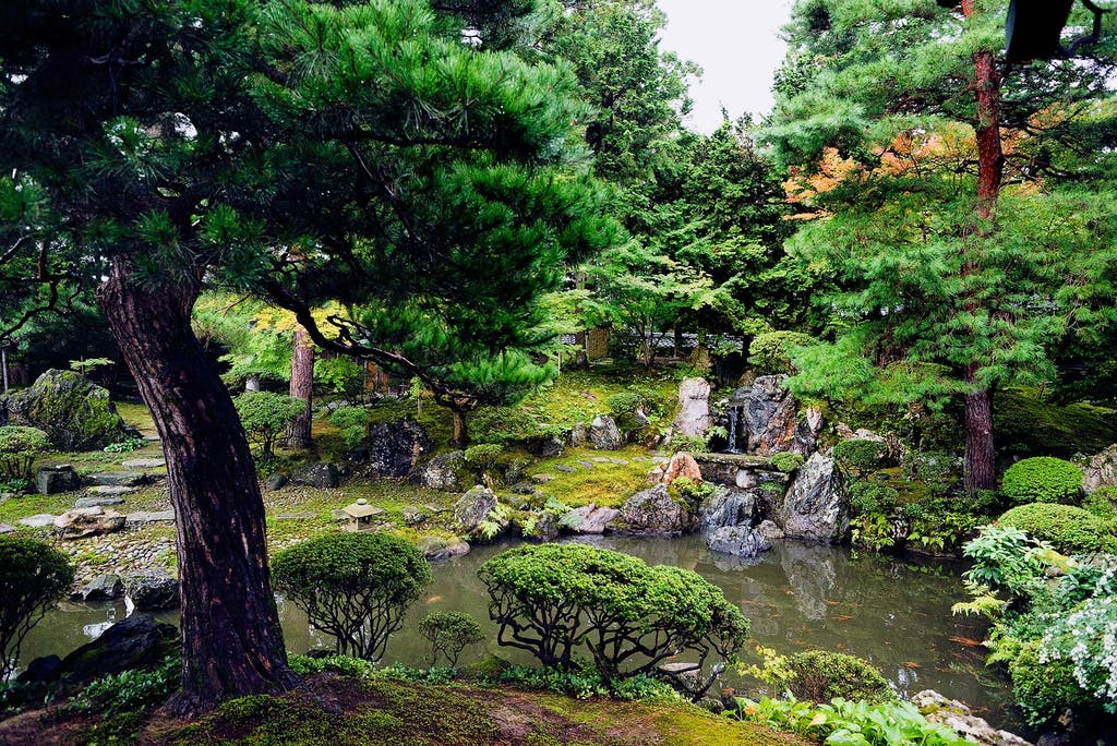 A traditional Japanese Zen garden is a precise work of art.