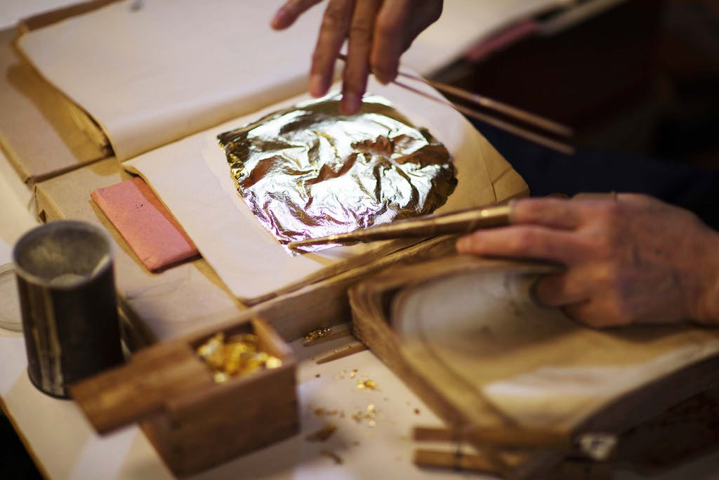 The Kanazawa gold leaf process requires experience and skill.