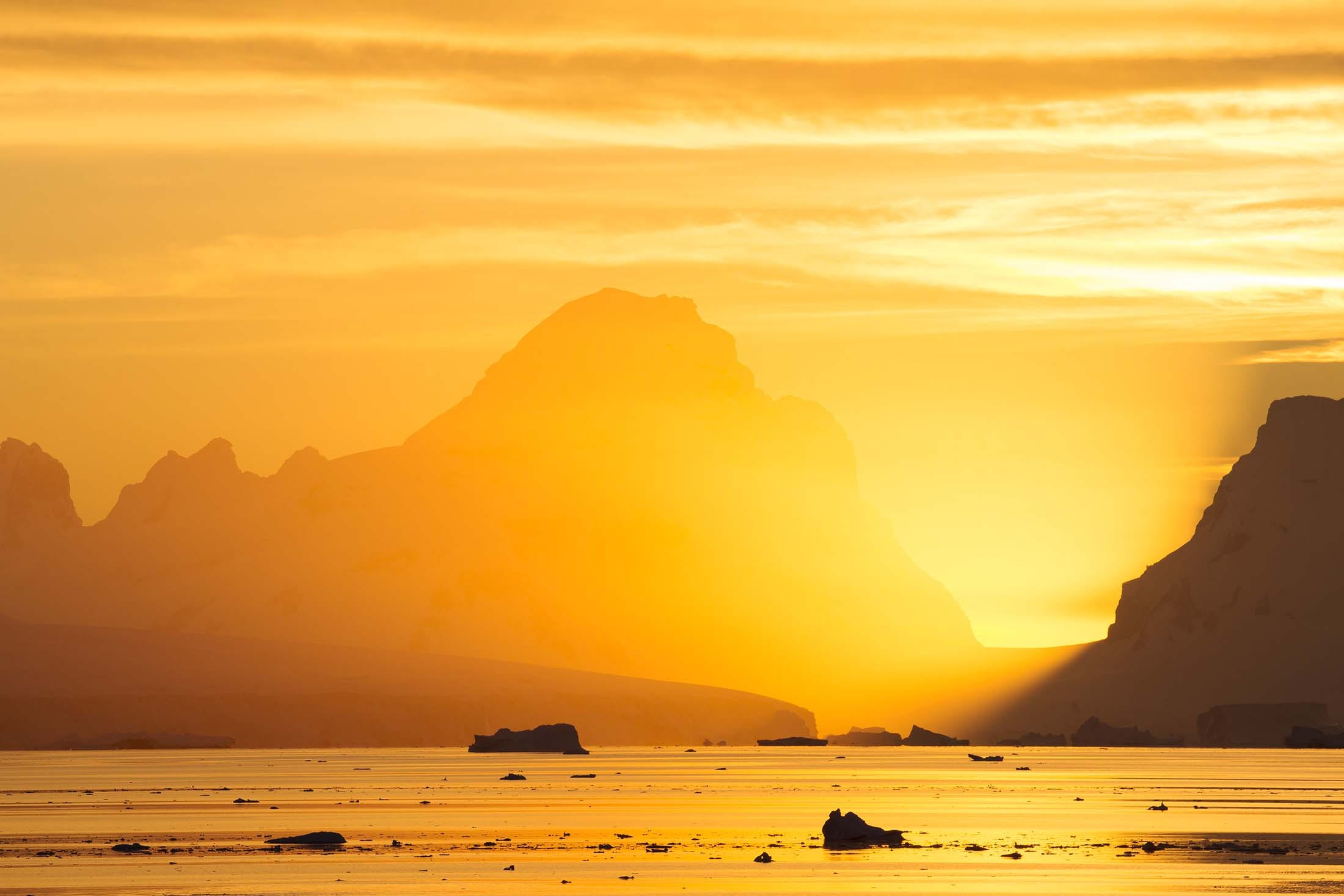 Sunset over the Errera_Channel, near Ronge Island in Antarctica