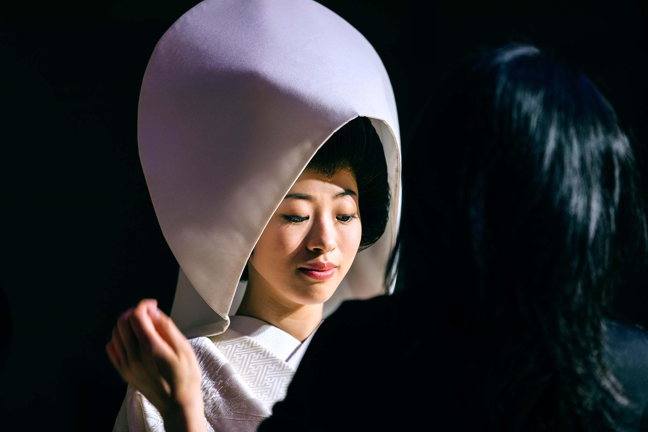 Japanese bride wears a wataboshi, Moji, Japan