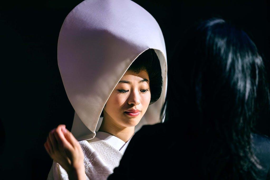 An important element of a Japanese wedding kimono is the wataboshi headpiece.