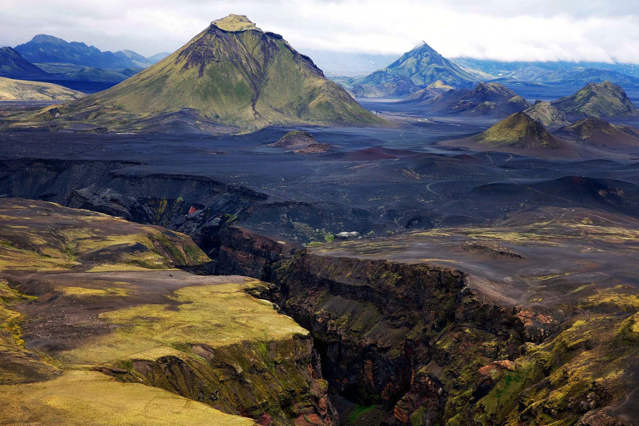 Iceland's landscapes include colossal glaciers and volcanoes