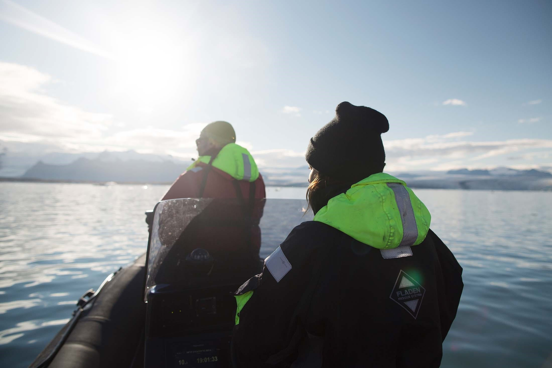 A Zodiac tour embarking from an Iceland cruise
