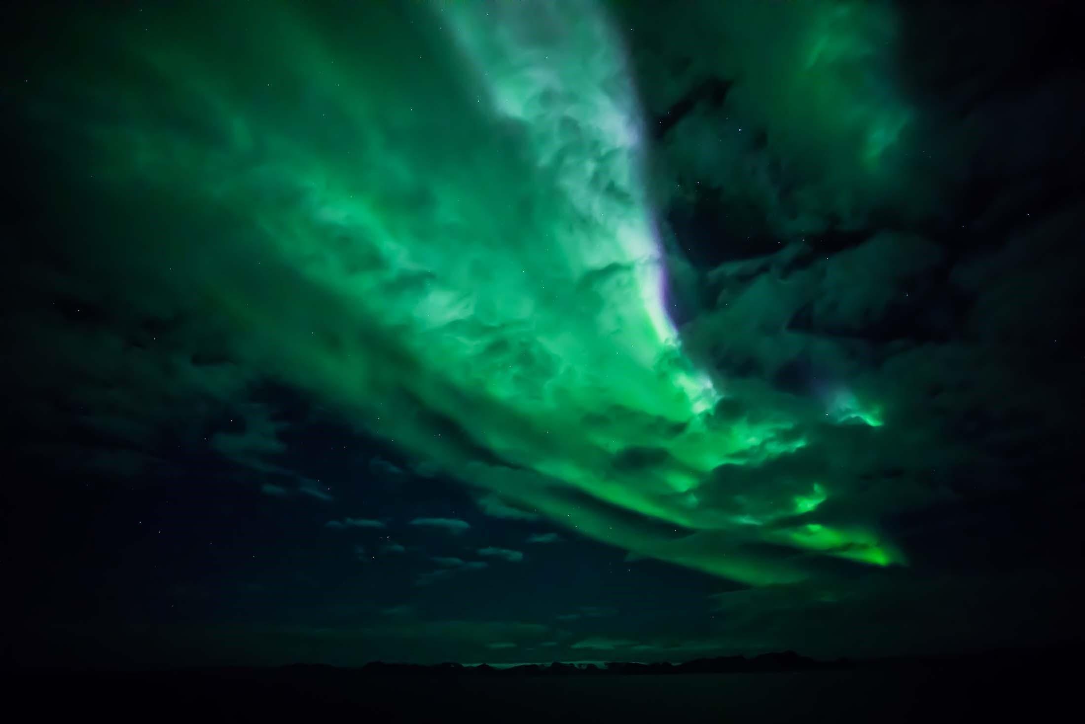 Aurora borealis on a Northern lights cruise