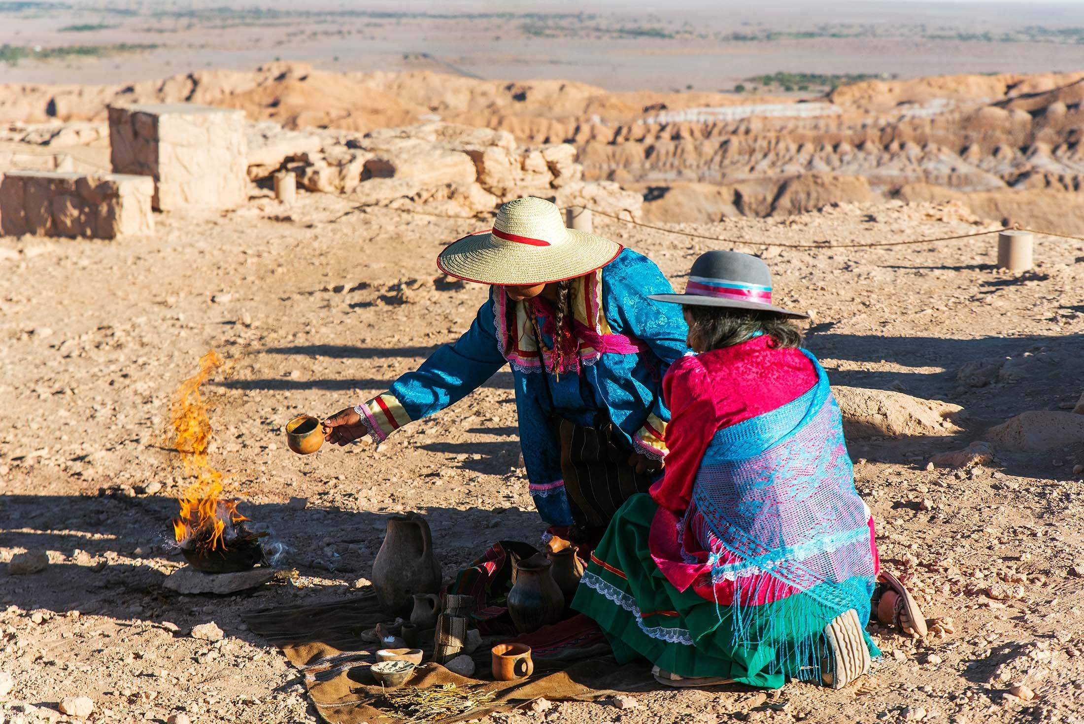 Pachamama ceremony in the Atacama Desert, Antofagasta, Chile
