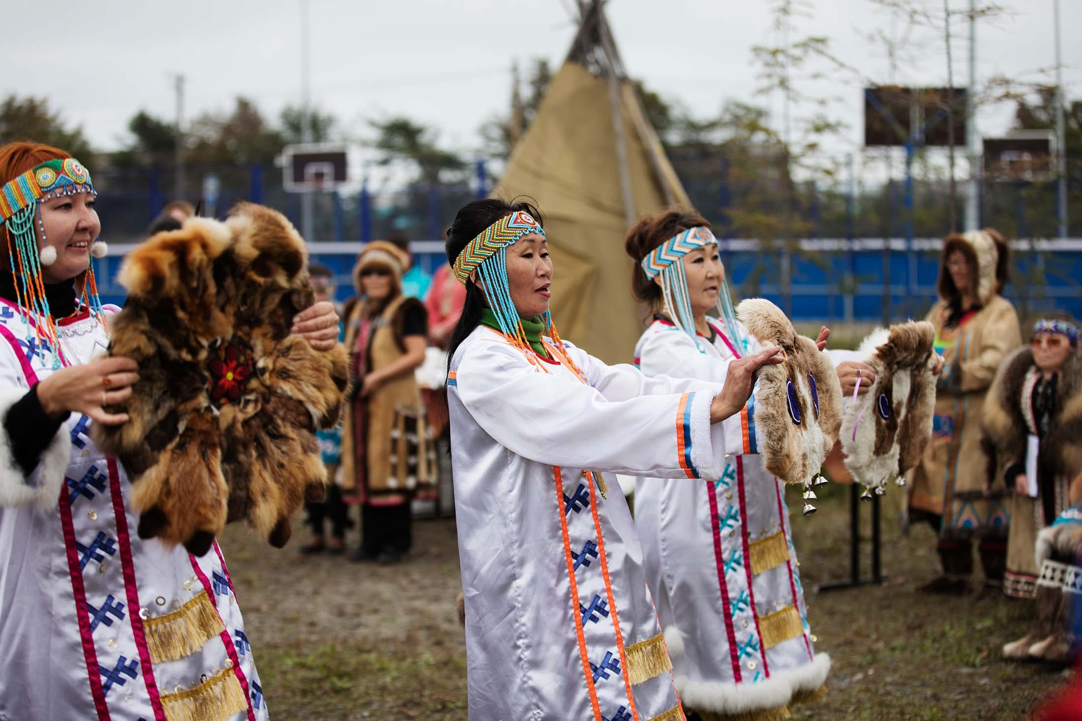 Eveny people in Okhotsk City, Russian Far East
