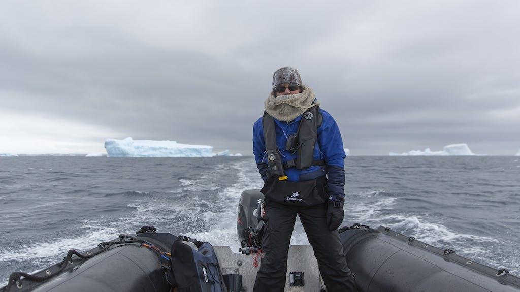 Robin Aiello in a Zodiac in Antarctica