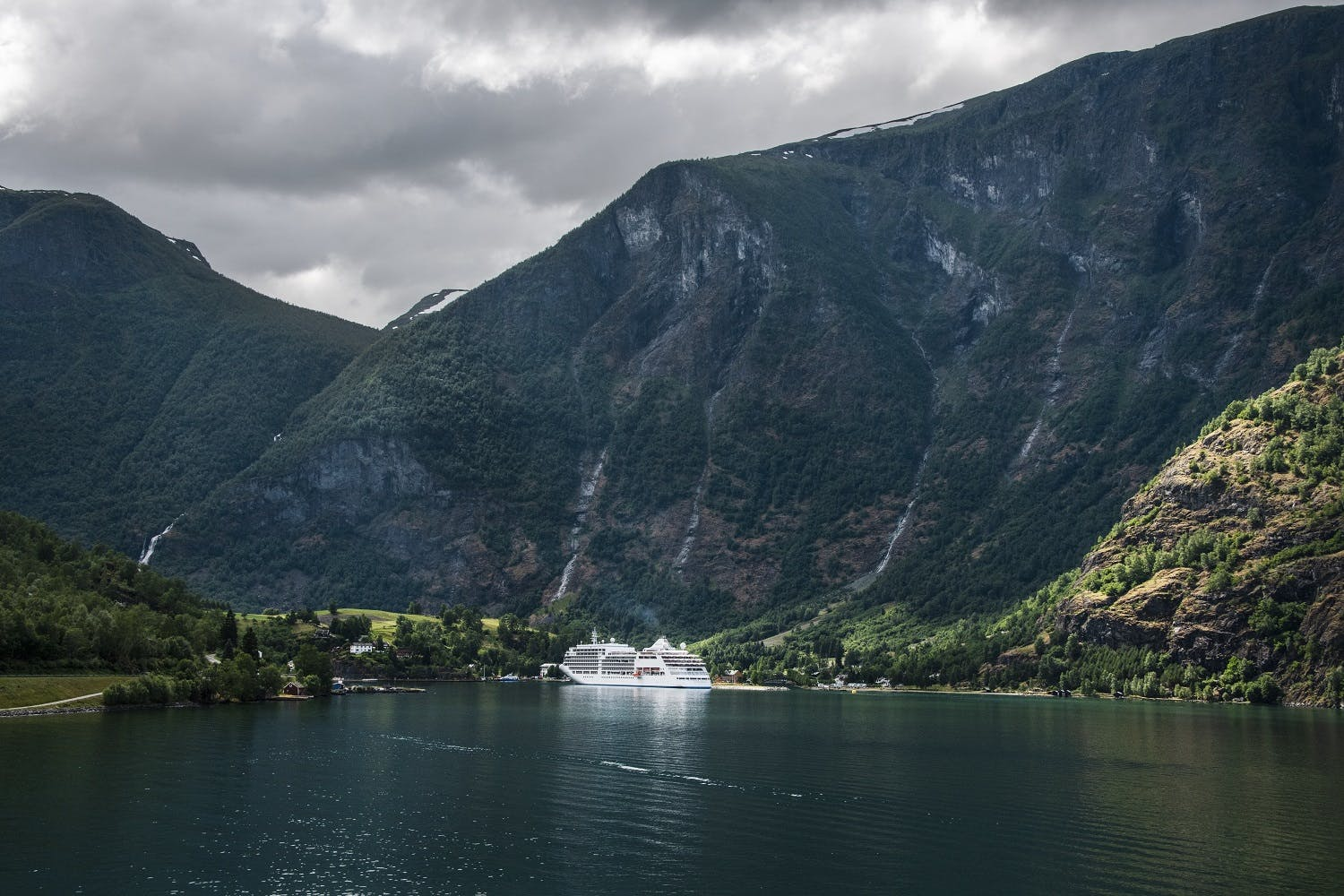 Silversea cruise ship in Norwegian Fjords
