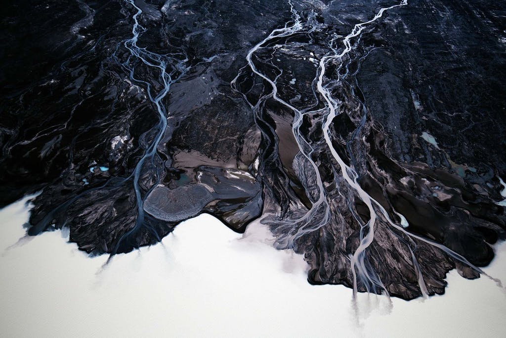 Iceland's braided rivers from above