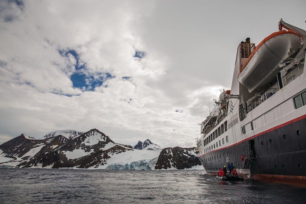 Zodiac excursion in Hope Bay, Antarctica