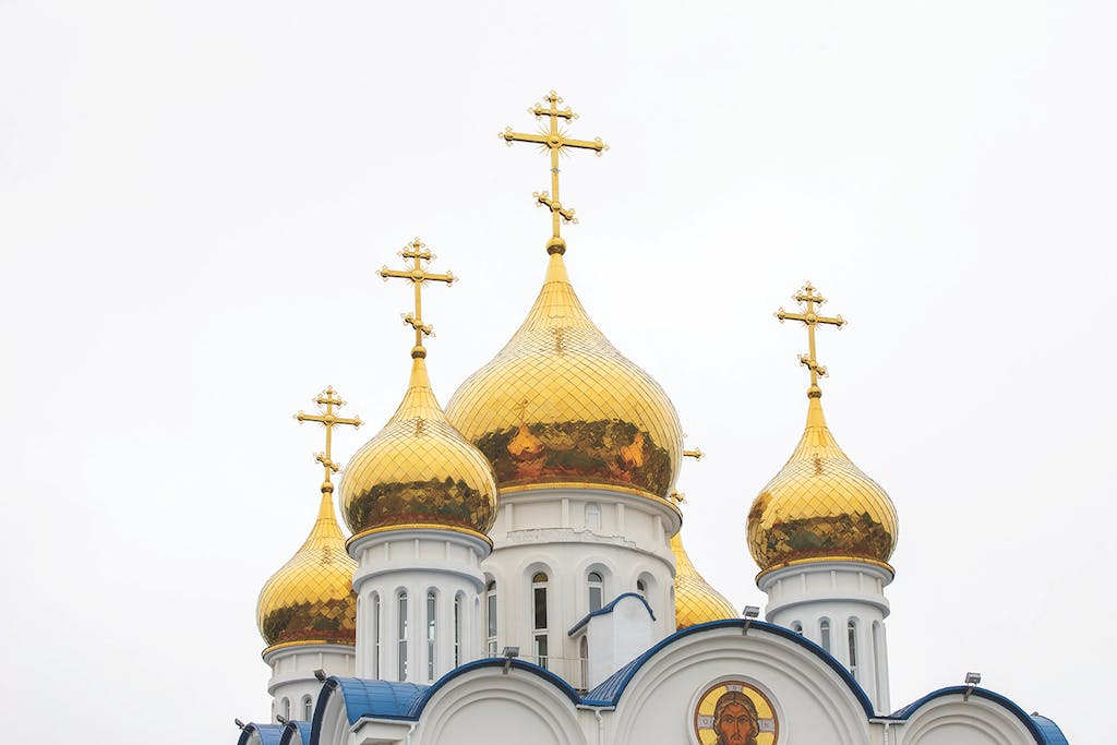 The five points of the Russian Orthodox Cathedral in Petropavlov
