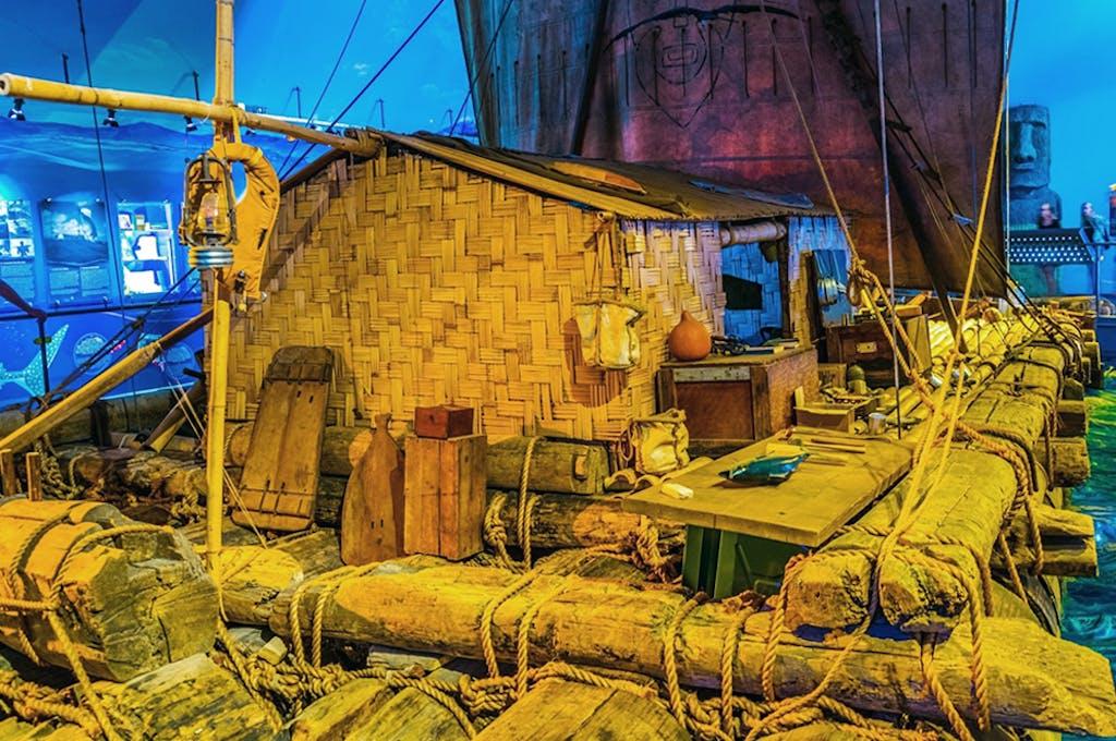 Thor Heyerdahl's Kon-Tiki raft in the Kon-Tiki Musem in Oslo/ Shutterstock
