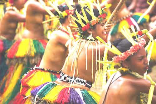Yapese girl performing tribal dance