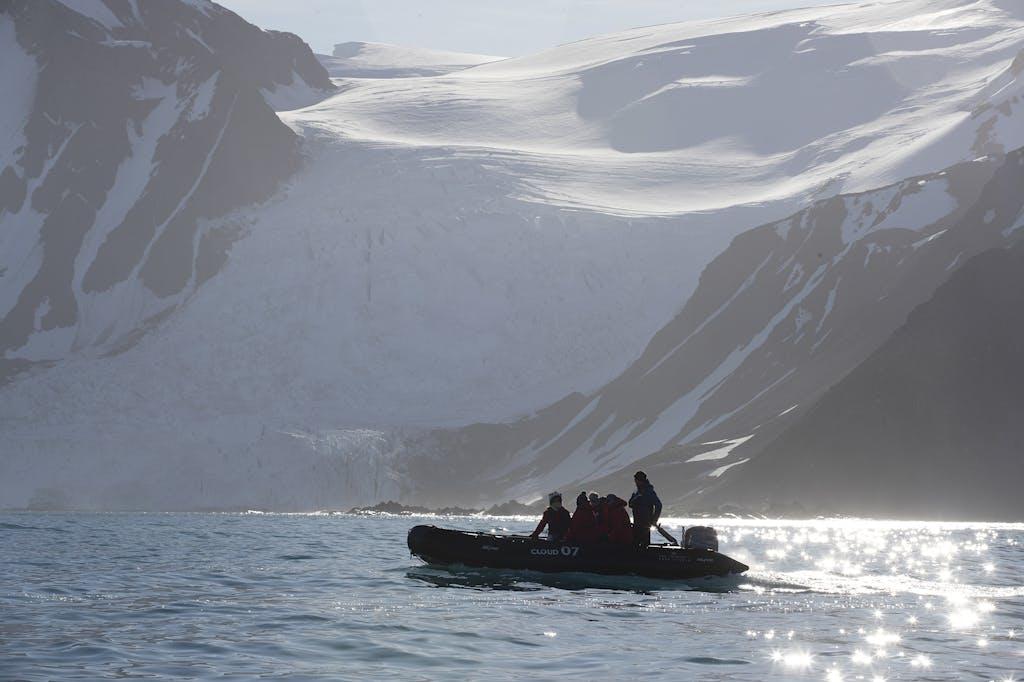 Zodiac cruising the waters of Antarctica