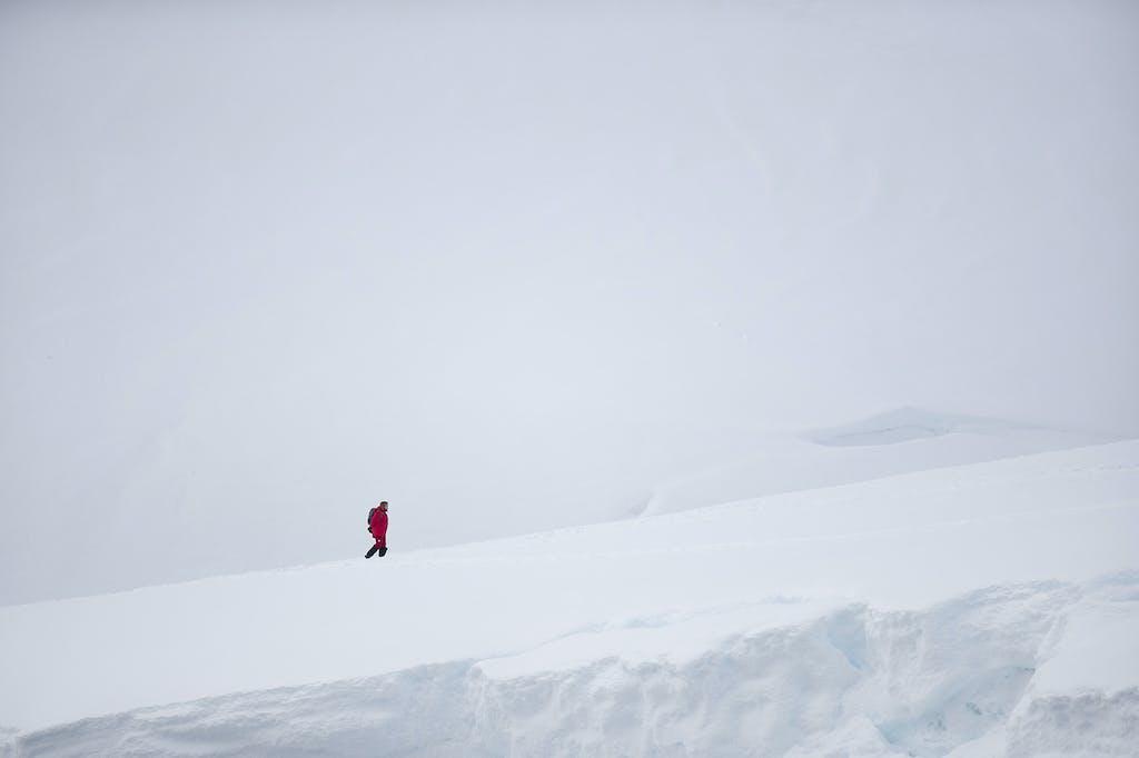 Guest hiking in Antarctica