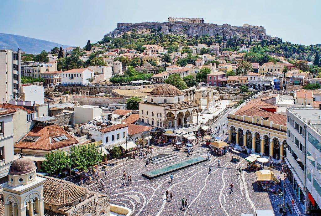 Monastiraki neighborhood in the old town of Athens