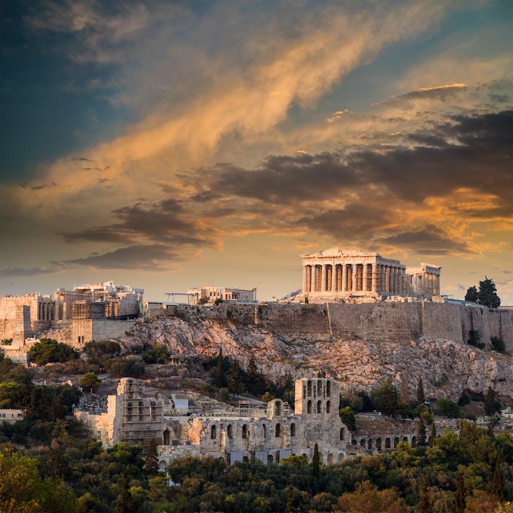 Athenian acropolis at sunset