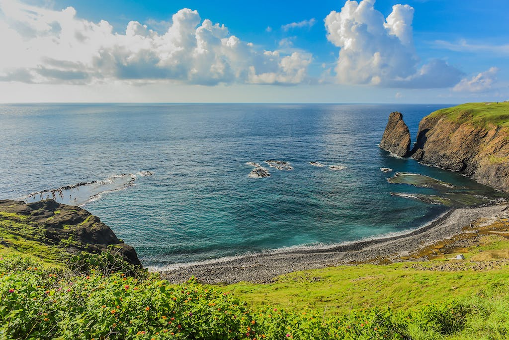 View of the natural wave-cut platform in the shape of Taiwan map, Called Little Taiwan, Chimei, Penghu, Taiwan.