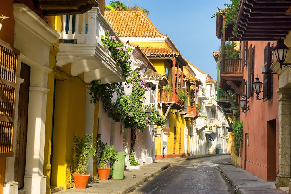 Colonial street in Cartagena, Colombia.