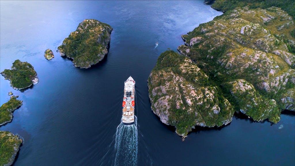 Silver Explorer cruising through Patagonian fjords