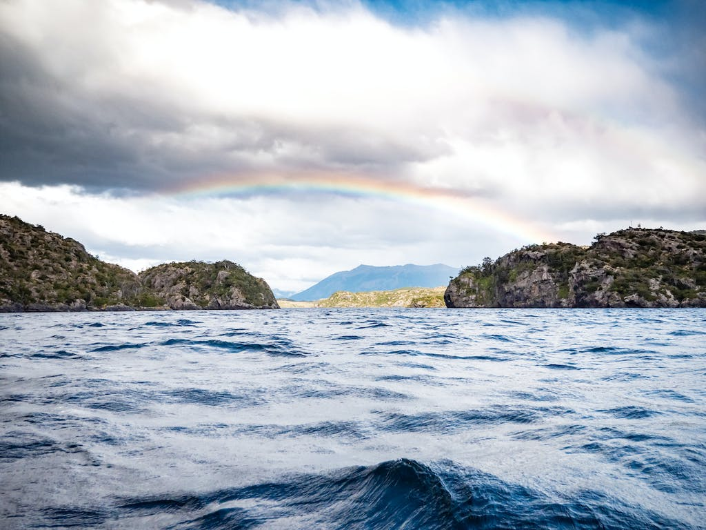 Narrow point between Patagonian fjords in Chile